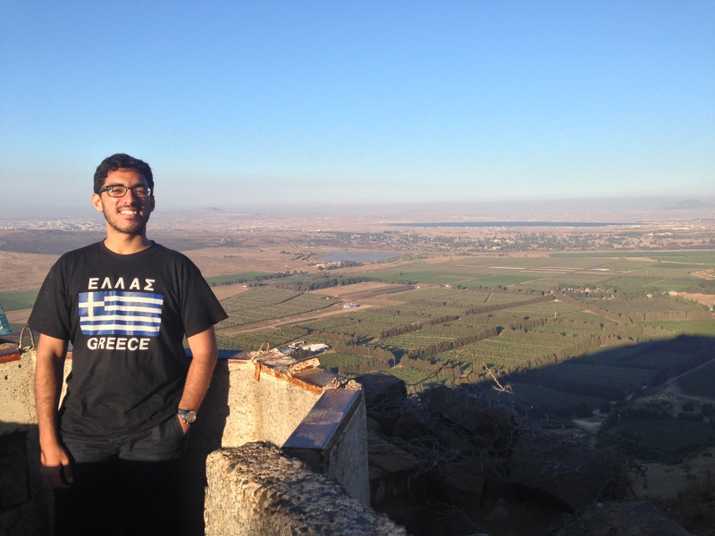 Kirk at Mount Bental (part of the Golan Heights), with the land of Syria in the background