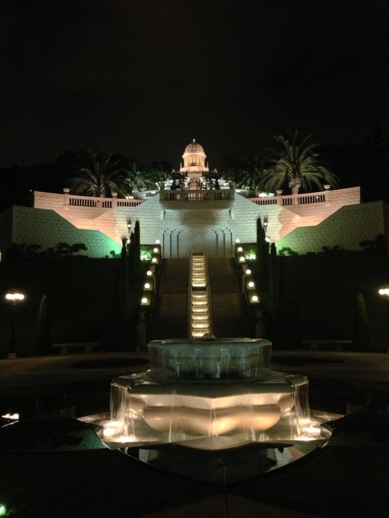 Baha'i Gardens at night